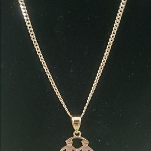 """Gold plated kids charms family necklace 20"""" chain"""